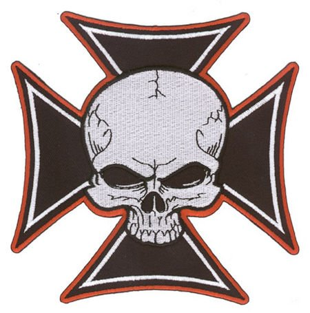 Aftermath - Large Skull on a Black Iron Cross, Edged in Red, 5.75