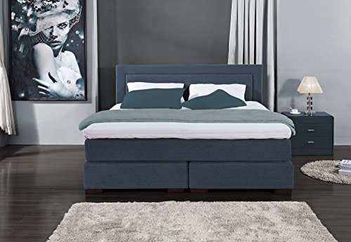 Designer Boxspringbett Los Angeles, Made in Germany, Tonnentaschenfederkern in der Box UND in der 7-Zonen Matratze, Visco Topper, Blau, H2/H3, 180x200cm