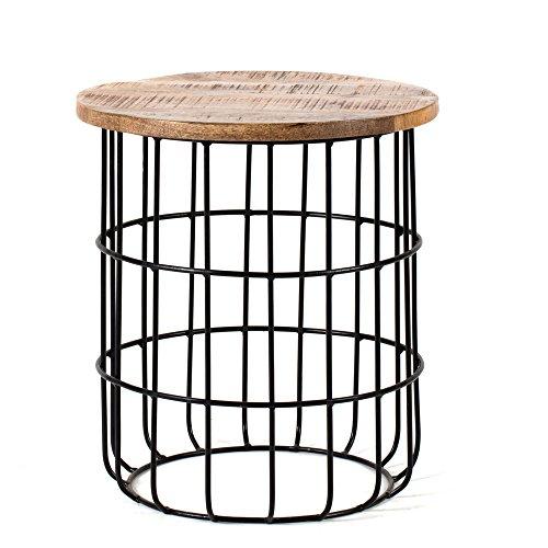 Madeleine Home Table d'Appoint Ronde Vintage Artisanale AUXON en Bois de Manguier Naturel et Métal , Table Basse Moderne Rétro, Industriel
