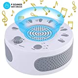 White Noise Sound Machine Sleep Therapy Polysomnography Device, 9 Unique Natural Sounds and Timer Setting for Baby and Adults Sleep Disorders & Noise Cancelling Home,Office,Spa,Yoga (White)