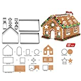 10PCS/set 3D Cookies Mold, set stampini per biscotti di Natale casa di marzapane, in acciaio INOX, metallo cottura stampi, Sliver, Taglia libera