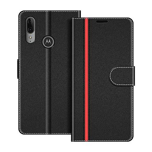 COODIO Handyhülle für Motorola Moto E6 Plus Handy Hülle, Motorola Moto E6 Plus Hülle Leder Handytasche für Motorola Moto E6 Plus Klapphülle Tasche, Schwarz/Rot