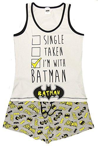 amen Mädchen NEUHEIT kurzes Höschen Shorts Pyjama Ariel wonder woman BatGirl Minnie Elch taty Teddy Eeyore 8-22 - Batman POW schwarz/grau, UK 8-10 ()