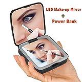 Rantizon Power Bank Schminkspiegel 1X/5X Vergrößerung LED Kosmetikspiegel 3500mAh Externer Akku Make-up kompakt Taschenspiegel Portable Handy Ladegerät für Smartphones, USB-Aufladungsgeräte und andere