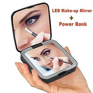 Rantizon Power Bank Portable Makeup Mirror Led Illuminated