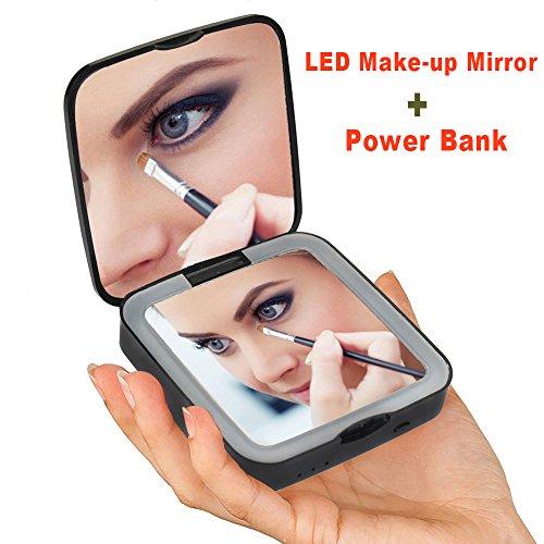 Rantizon Power Bank Schminkspiegel 1X/5X Vergrößerung LED Kosmetikspiegel 3500mAh Externer Akku...