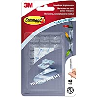 Command 17026CLR Pack de 20 ganchos mini clips decoración con tiras transparente Set Piezas