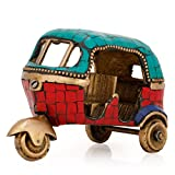 Collectible India Auto Rickshaw Tuk-tuk Turquoise Showpiece Solid Handcarved Turquoise Sculpture
