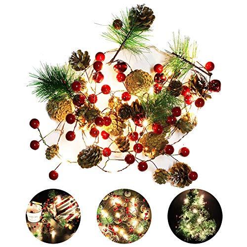 EisEyen 2m 20 LED Lichterketten Rote Beere Weihnachtsgirlande Lichter Tannengirlande Girlande für...