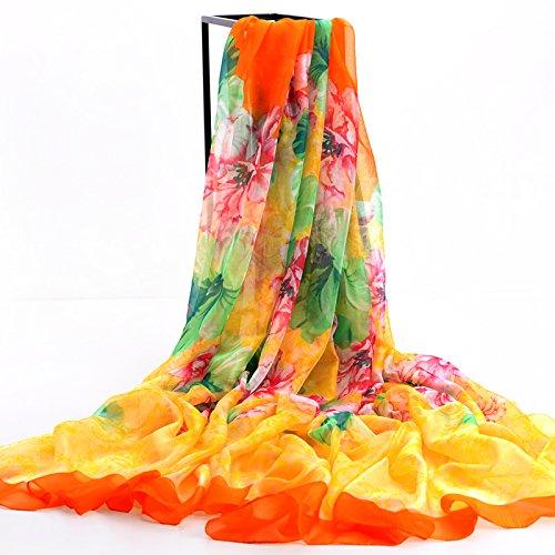 Upper Cape de foulards femmes Wild Super Sun Beach printemps/été écharpe mousseline de soie foulards écharpe cyan