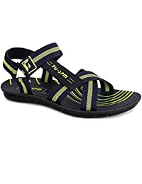 PU-SPM Men's Synthetic Outdoor Sandals & Floaters (Blue- Green)