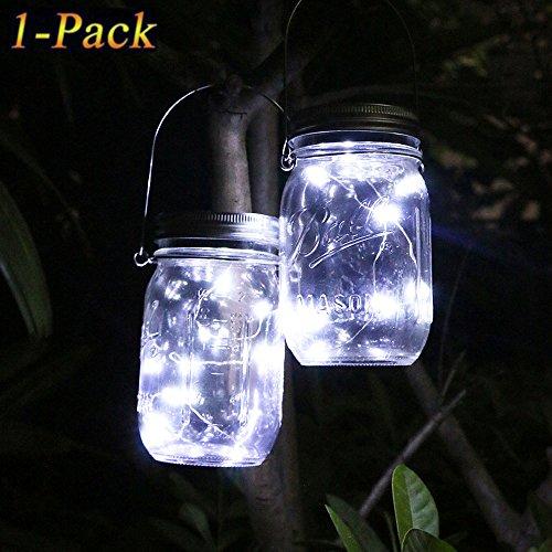 Solar Mason Jar Licht, Wasserdichte LED Einweckglas Garten Hängeleuchten, Solarlampe Weckglas Fee String Lichter für Party,Weihnachtsferien, Hochzeitsdekoration (Kaltes Weiß) (Mason Jar Lampe)