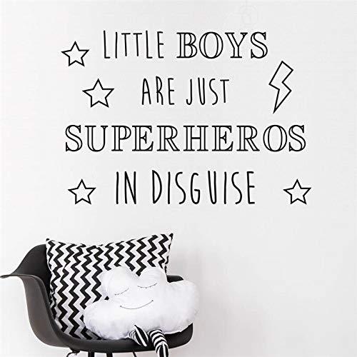haochenli188 Stars Words Art Aufkleber für Nur Little Boys sind Superhelden In Disguise Wandaufkleber Lightning Bolt Interior Sleep 56x78cm