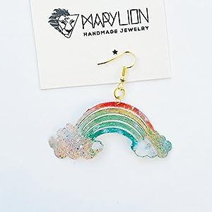 Regenbogen Ohrring - Regenbogen und Wolken Tropfen Ohrring - Regenbogen Schmuck - Rockabilly Schmuck - Neuheit Wolke Ohrring