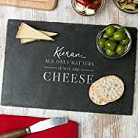 Personalised Birthday Gift for Him Men - 'Age only Matters if you're Cheese' Cheese Board - Funny 30th, 40th, 50th, 60th Birthday Gifts for Men/For Him Funny