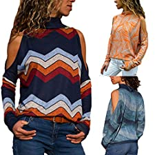 ❤️Meilleure Vente!Mode Femme Casual Col Rond Couleur Patchwork Pullover Chic Manches Longues Slim T Shirt Tops Simple Blouse, LuckyGirls Chemisier Femme Blouse Rayures Casual Tunique Haut Top Shirt