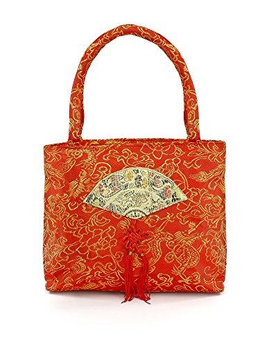 Rote chinesische Handtasche aus Seide (Handtasche Seide)