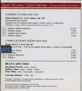 Faure:Piano Quartet no. 2 / Saint-Saens:Piano Trio no.1 Beaux Arts Trio