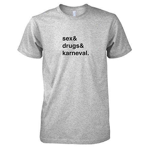TEXLAB - Sex & Drugs & Karneval - Herren T-Shirt Graumeliert