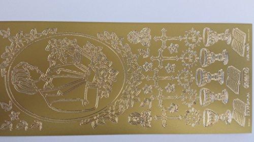 bastelkoerble® Sticker , 2 Bogen , Kommunion Junge in Gold , Kartengestaltung