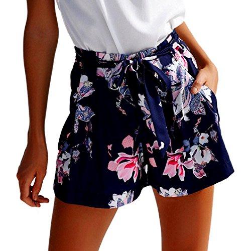 ❤️ Amlaiworld Pantalones corto Mujer Verano Sexy Pantalones cortos de flores casuales de cintura alta para niña Leggins Deportivos Fitness Mallas para mujer leggings deporte mujer cortos (Azul oscuro, L)