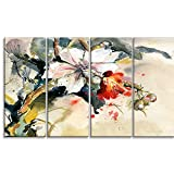 "Designart PT6144-271 4 Piece ""Orchid in bloom Floral"" Canvas Artwork, Blue, 48x28"""