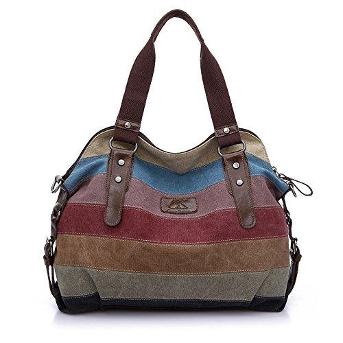 Seeyoulife Farbgestreifte Leinwand Damen Handtasche /Umhängetasche Mädchen Handtasche Schultasche Leinwand Style 1
