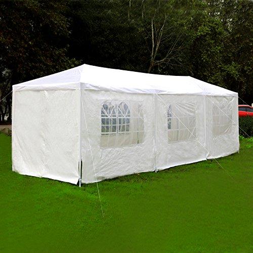 Festzelt Partyzelt 3x3-9m Gartenzelt Pavillon Bierzelt (3×9 mit 8 Seitenteilen)