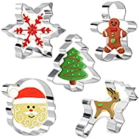 Christmas Cookie Cutters Snowflake,Christmas Tree,Gingerbread Man,Santa Face and Reindeer 5 Pieces Biscuits Pastry Cutter Set by IINDES