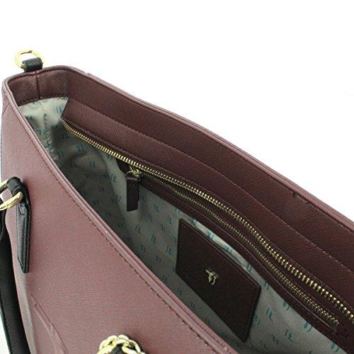 Trussardi Jeans 75b00001-1y090125, Borsa a Spalla Donna, 41 x 32 x 16 cm (W x H x L) BORDEAUX