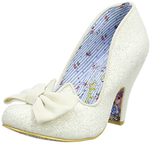 Irregular Choice Nick Of Time, Escarpins femme Blanc Cassé - Off White (Cream Glitter)