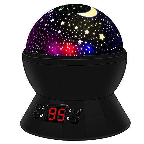 [Neuste] Sternenhimmel Projektor Lampe Babylampe Weihnachtsgeschenke mit Timer 8 Farbkombinationen 4 LED Birnen 2 Aufladungmethode 360 Grad Rotation Kindergeschenk mit Starry Stern Mond Perfekt für Ge