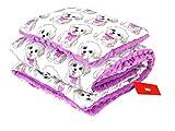 BABYLUX Babydecke Krabbeldecke MINKY Kuscheldecke Decke 75 x 100 cm mit KISSEN 30x35cm (16K. Lila + Hunde)