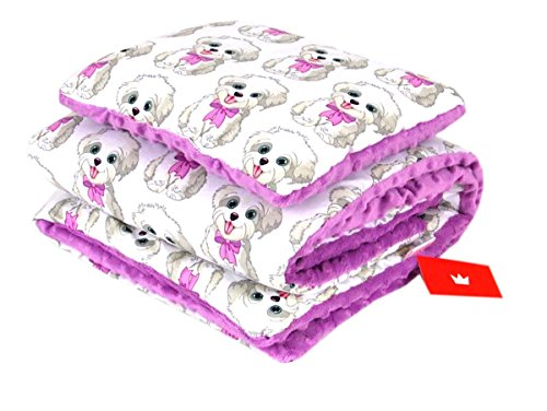 BABYLUX Babydecke Krabbeldecke MINKY Kuscheldecke Decke 75 x 100 cm mit KISSEN 30x35cm (16K. Lila + Hunde) -