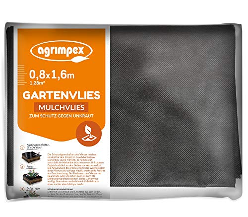agrimpex Unkrautvlies - Gartenvlies schwarzes Mulchvlies zum Schutz gegen Unkraut Gewicht 50 g/m² Hohe UV-Stabilisierung Unkrautfolie Wasserdurchlässig 0,8x1,60M (1,28 m²)