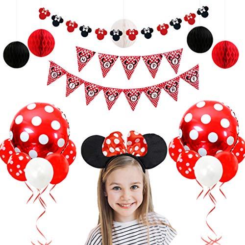 JOYMEMO Minnie Mouse Geburtstag Dekorationen rot und schwarz für Mädchen mit Minnie Ohren Garland, Stirnband, Papierwabenkugeln und Luftballons