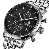 Pagani Design Herren Uhr Marke Chronograph Japanisches Quarzwerk Business Wasserdicht Armbanduhr mit Schwarz Zifferblatt Edelstahl Armband