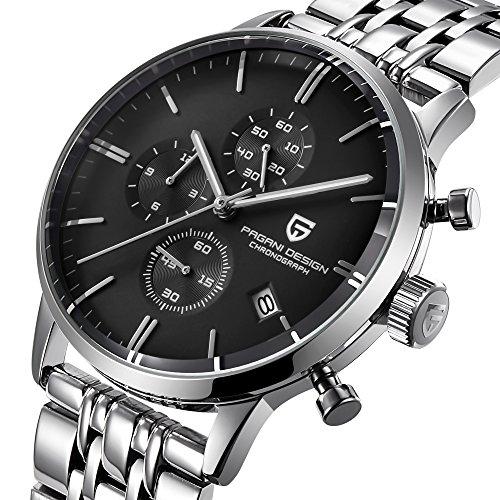 Pagani Design Top Luxus Marke Herren Uhren wasserdicht Multifunktional Edelstahl Sport Herren Quarz Armbanduhr (Schwarz)