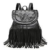BAILIANG Leder Rucksack Für Frauen Gewaschen Leder Handtasche Satchel Schultertasche,Black-OneSize