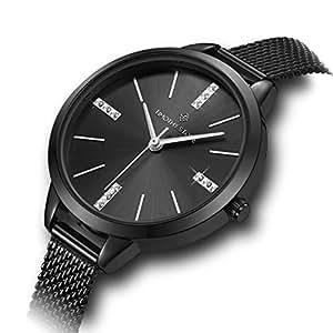 Timothy Stone Ladies Swarovski Crystal Dial & Stainless Steel Mesh Chrome Black Bracelet 'Oxford' Wrist Watch for Women