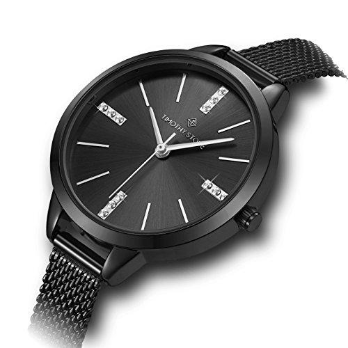 Damen Swarovski Crystal Armbanduhr Zifferblatt und Edelstahl Mesh Chrome Black Armband