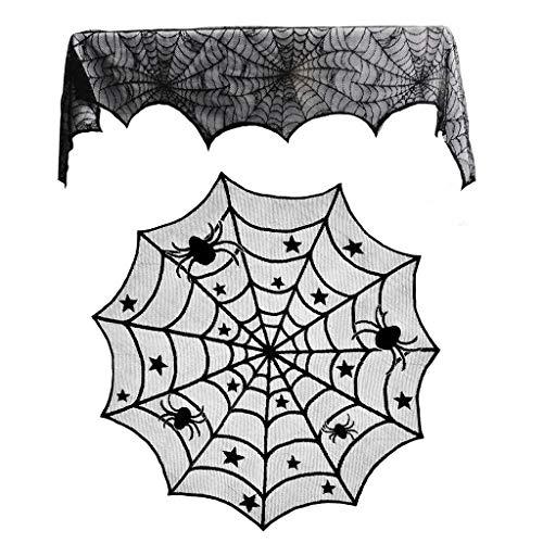 Dezente Kostüm Mädchen - SHSH Halloween-Dekoration, Tischdecke und Kamin, Spinnennetz,