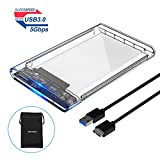 ELUTENG Boitier Disque Dur Externe 2.5'' Boitier SSD HDD 7mm ¨¤ 9,5mm SATA 3.0 USB 3.0 5Gbps Disque Dur Portable UASP pour PC/Laptop Transparente