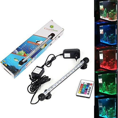 GreenSun LED Lighting 28cm RGB Ferbedienung mit 24 Tasten Aquarium LED Beleuchtung Leuchte Lampe wasserfest Unterwasserlicht langsames Aufleuchten Deko für Aquarium Fische Tank (Tank Taste)