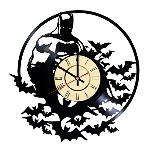Witzige Batman Wanduhr aus Vinyl, handgefertigt, für Geburtstag, Hochzeit, Jahrestag, Valentinstag, Mutter-Ideen für Männer und Frauen, für Sie und Ihn