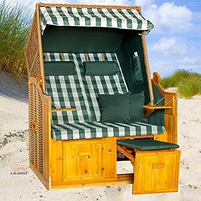 Strandkorb Ostsee grün, Geflecht natur, Variante B, LILIMO ®