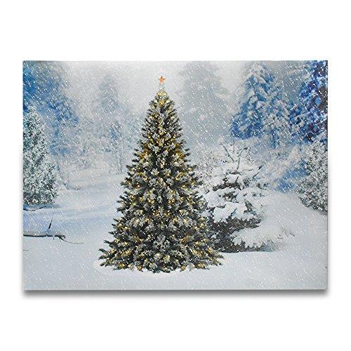 LED Wrapped Leinwand Art Malerei für Wand-Dekorations erleuchtet Winter Schnee Evergreen Bäume Szene Licht Up Bild, Größe 15,7(L) X (W) 'benötigt 2AA Batterien (nicht enthalten) (Winter-szene)
