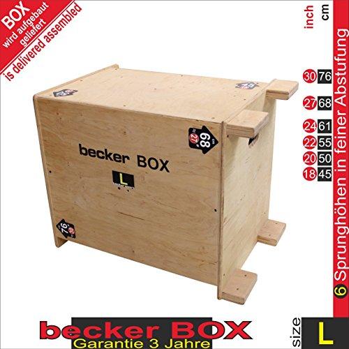 Becker-Sport Germany becker Box L Weltneuheit 6 in 1 Plyo Box - jede Seite hat 2 Sprunghöhen L Box 20x24x30 inch und zusätzlich 18x22x27 inch (50x61x76 cm und zusätzlich 45x55x68 cm)
