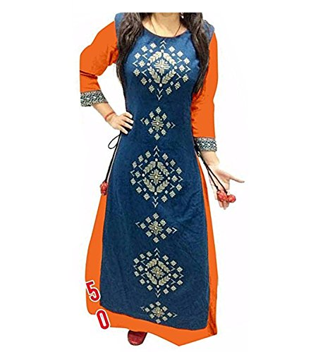 Muta Fashions Banglory Silk Orange Women Kurti(KURTI209)