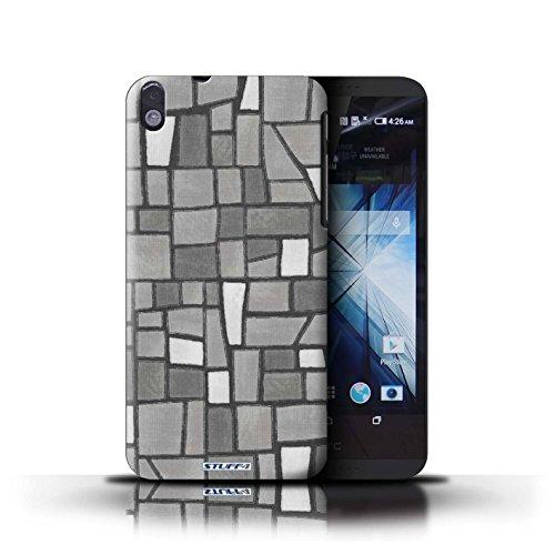 Kobalt® Imprimé Etui / Coque pour HTC Desire 816 / Vert/Brun conception / Série Carrelage Mosaïque Gris/Blanc